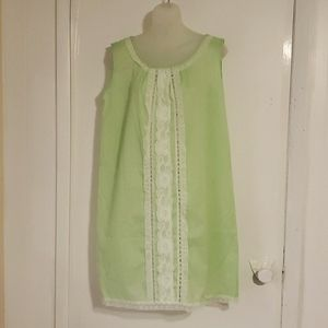 Vintage Light Green & White Lace Nightgown